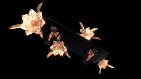 Abstract background of a skateboard with golden flowers Animation