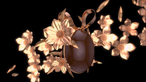 Abstract background of an easter egg with golden flowers Animation