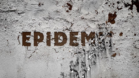 """On a white, battered concrete wall appears the inscription: """"epidemic"""", concrete crumbles into Animation"""