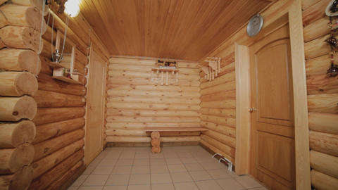 Beautiful interior of a wooden house from a log house Live Action