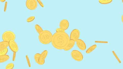 Golden coins with dollar symbol falling on a light blue background, looping cartoon flat finance Animation