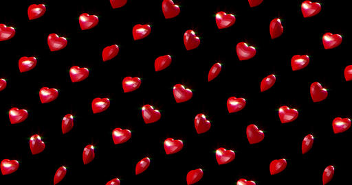 Romantic pattern with polygonal red hearts on black. For Valentine's Day event Live Action