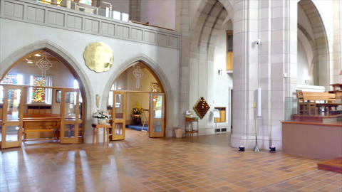 shot of religious christian or catholic chapel and altar for worshippers Live Action