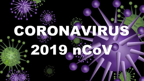 Coronavirus 2019 nCoV flying on black background, white inscription falling down Animation