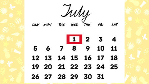 Calendar for July Animation