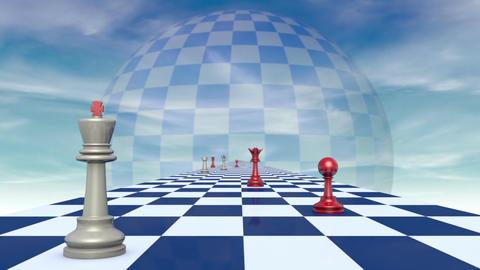 International relationships (chess metaphor). 3D video, Full HD Animation