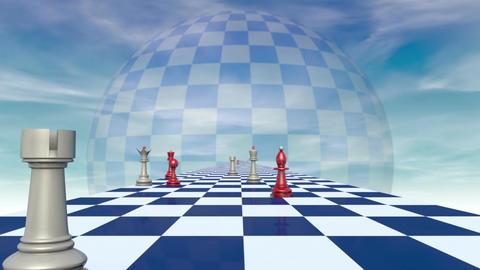 International relationships (chess metaphor). 3D video,... Stock Video Footage