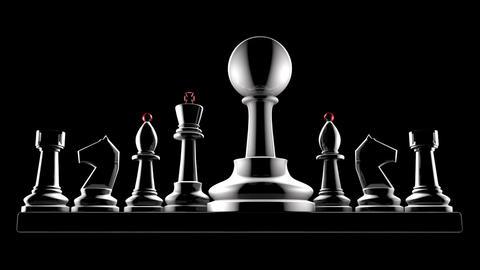 Successful career (chess metaphor). 3d animation. Full HD 1080p. Art video Animation