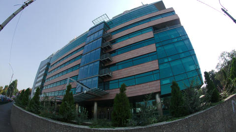 Business Center In Downtown Bucharest, Fish Eye Lens, Pan Footage