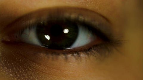 Beautiful Girl's Eye Blinking, Detail, Smile, Macro Shot Footage