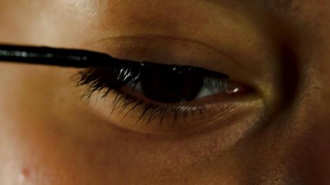Beatiful Girl Using Eye Liner, Date Night, Make Up, Cosmetics, Detail, Close Up Footage