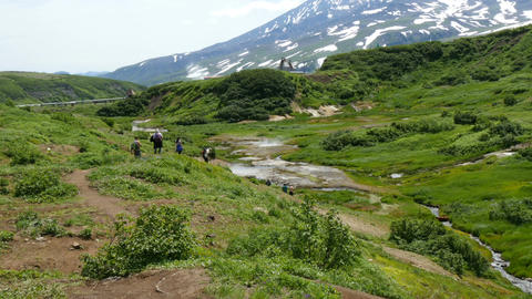 tourists in valley at mutnovksky volcano kamchatka Footage