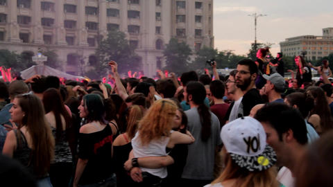 Summer Rock Festival, Audience Cheering And Dancing, Lights And Smoke, Pan Footage