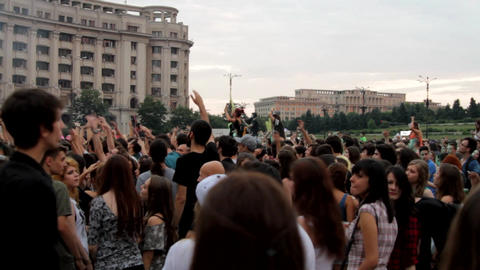 Summer Concert Festival, People Dancing And Cheering, Rock Music Footage