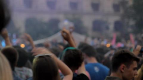 Summer Festival, People Dancing And Cheering, Stage, Lights, Smoke, Rack Focus Footage