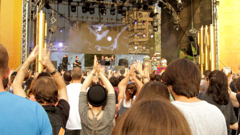 Summer Festival Concert, People Dancing And Clapping Their Hands, Music Band Footage