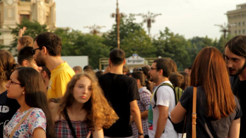 People Gathering Before Concert, Festival, Crowds, Summer, Pan Footage