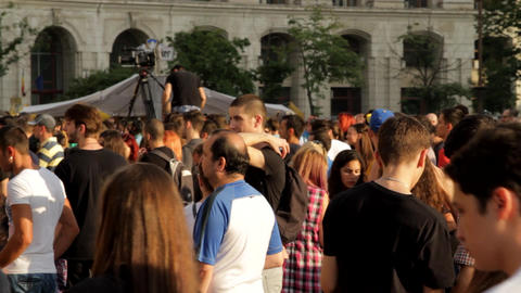 People Gathering Before Concert, Festival, Crowds, Summer Footage