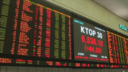 ELECTRONIC BOARD AT KRX KOREA STOCK EXCVHANGE SHOWING STOCK PRICES ALSO SMASUNG  Footage