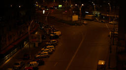 Aerial View Of A Street Late At Night, Night Traffic, Tilt Footage