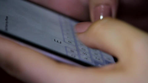 Woman Fingers Writing A Message On A Smart Phone, E-mail, Communication, Detail Footage