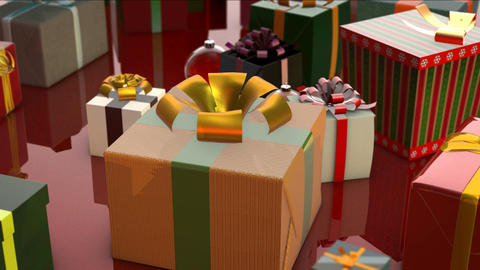 Merry Christmas Animation with Gifts, Bells and Baubles Animation