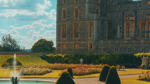 Telephoto View of the West Wing of Windsor Castle and Gardens in Berkshire, UK Footage