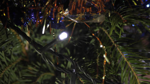 Christmas Tree Detail, Holyday, Christmas Lights, Tinsel, Joy Footage