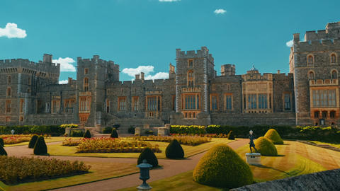 Wide Angle Slow Panoramic View of the Windsor Castle and Gardens in Berkshire, U Footage
