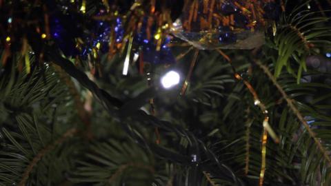 Christmas Tree Detail, Holyday, Christmas Lights, Tinsel, Joy, Rack Focus Footage