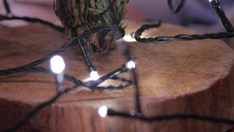 Christmas Tree Lights On A Wooden Stand, Rack Focus, Winter, Christmas Footage