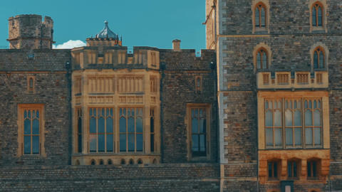 Ultra Closeup Shot of the Medieval Windsor Castle Showing Fine Details of Window Footage
