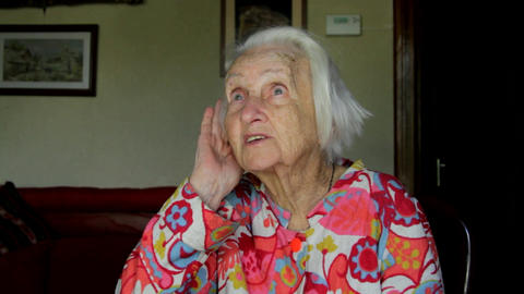 Very Old Lady Having Hearing Problems, Almost Deaf, Old Age Footage