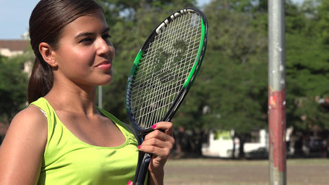 Female Tennis Player With Tennis Racket Footage