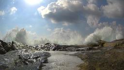 Waves splashing over the wavebreaker, slow motion Footage