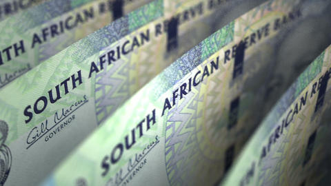 South African Rands Close-up Animation