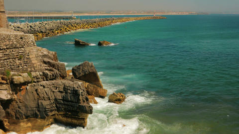 Wide Angle Shot Showing the Sea, Jetty and Coast of Peniche, Portugal Footage