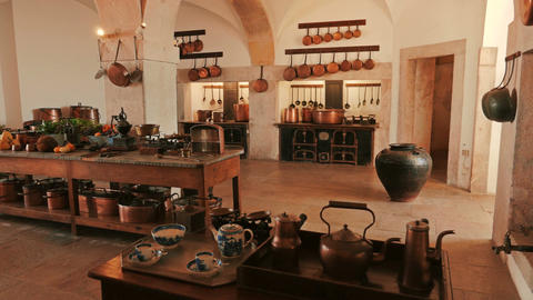 Ultra Wide Shot of an Ancient Kitchen and Kitchenware Footage
