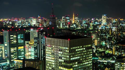 Tokyo - Night aerial city view. Shinjuku 2016. 4K time lapse Footage