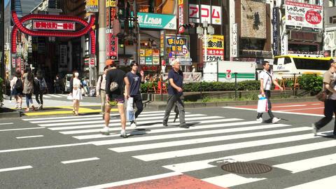 Tokyo- May 2016: People at crosswalk. Shinjuku Footage