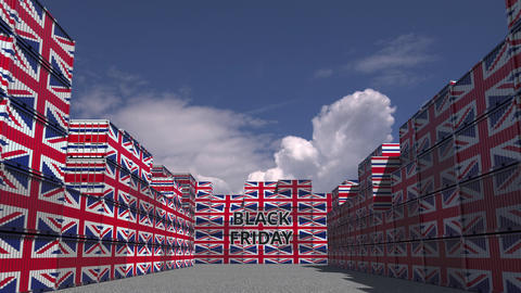 Cargo containers with BLACK FRIDAY text and flags of the UK. British commerce Live Action