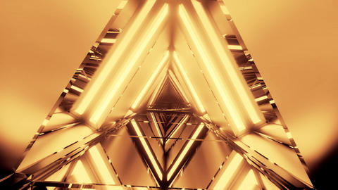 abstract 3d illustration motion background with abstract rotating metal triangle Animation