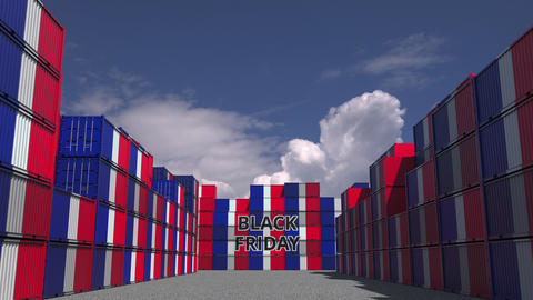 Cargo containers with BLACK FRIDAY text and flags of France. French commerce Live Action