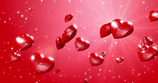 Romantic red polygonal hearts with ray of light. Valentines Day. event Live Action
