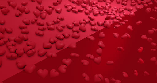 Romantic cute red falling hearts. Valentines Day. event background. 3D rendering animation 4k Animation