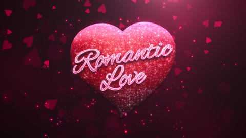 Animated closeup Romantic Love text and motion romantic heart on Valentine day shiny background Animation