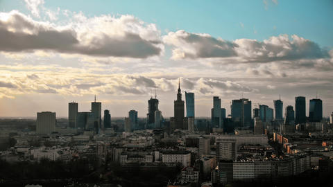 Aerial hyperlapse of Warsaw downtown, Poland Live Action