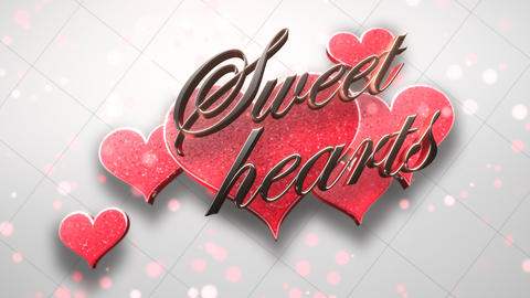 Animated closeup Sweet Hearts text and motion romantic heart on Valentine day shiny background Animation