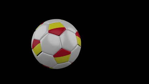 Tamil Eelam bicolor flag on flying and rotating soccer ball on transparent alpha Animation