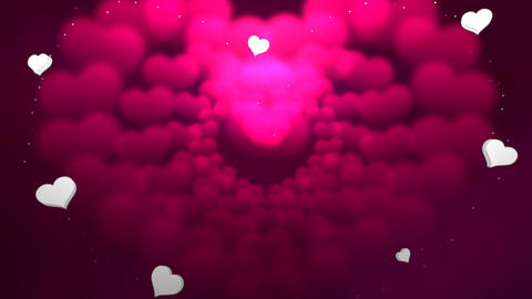 Animation closeup motion romantic hearts on Valentine day shiny background Animation